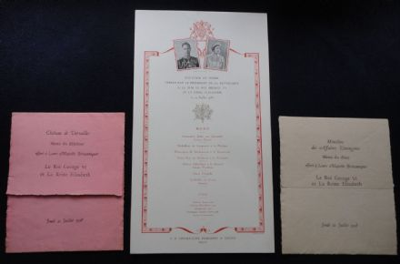 Rare Royal Menus Royal Visit of King George VI & Queen Elizabeth Versailles 1938